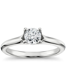Split Shank Surprise Diamond Solitaire Engagment Ring in 14k White Gold
